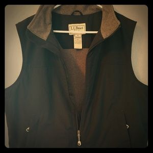 LL Bean Nylon Polyester Vest Black Grey Large Reg